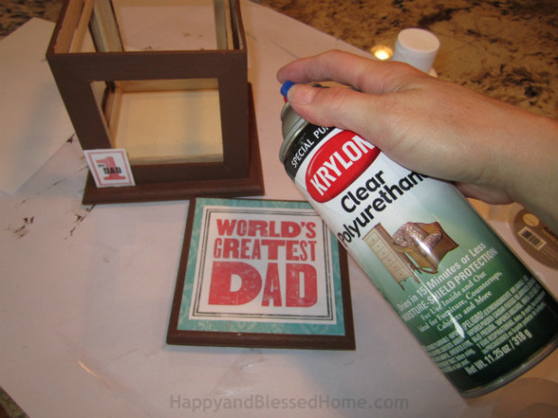 Spray this Wood Photo Box Father's Day gift with clear polyurethane to protect it - tutorial by HappyandBlessedHome.com