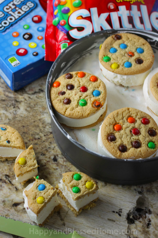 Use two boxes of M&M's® Cookie Ice Cream Sandwiches 6-pack to create your Ice Cream Cake
