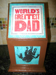 Wood Photo Box Father's Day Gift Idea and easy Father's Day Craft from HappyandBlessedHome.com