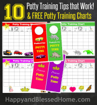 10 Potty Training Tips that Work with 8 fun Potty Training Charts button from HappyandBlessedHome