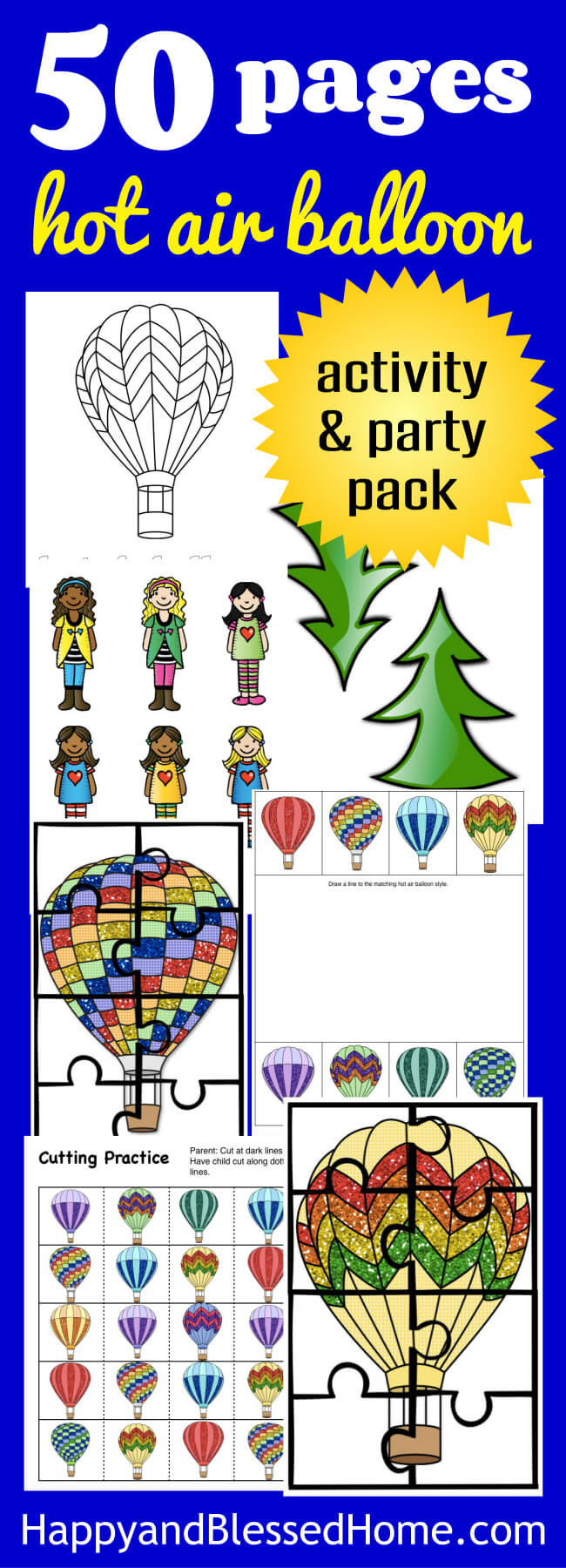 50 Pages of Hot Air Balloon Activities and Party Decorations