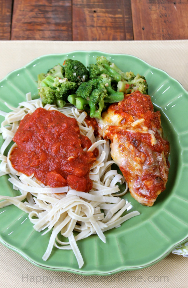 Easy Recipe for gluten free Chicken Parmesan with real Italian sauce from HappyandBlessedHome.com