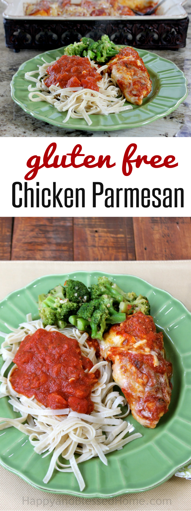 Easy Recipe for tender Gluten Free Chicken Parmesan by HappyandBlessedHome.com