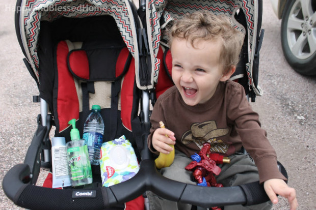 Eating bananas with Huggies Wipes in the stroller makes for easy clean up photo copyright 2015 HappyandBlessedHome