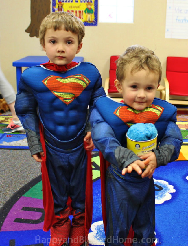 Enjoying our new Superhero costumes form Birthday Express Photo Copyright 2015 HappyandBlessedHome.com