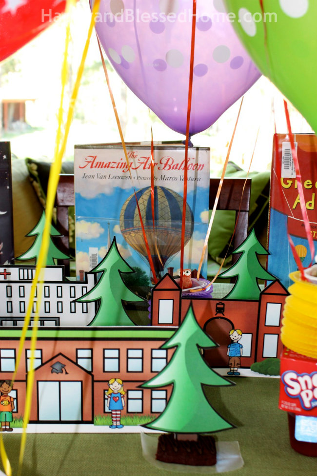 FREE Hot Air Balloon Activity Pack for kids and FREE printable hot air balloon party decorations from HappyandBlessedHome