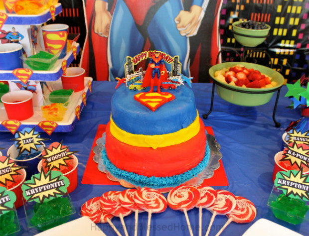 Five Year Old Superman Birthday Party with homemade Superman Cake from HappyandBlessedHome.com