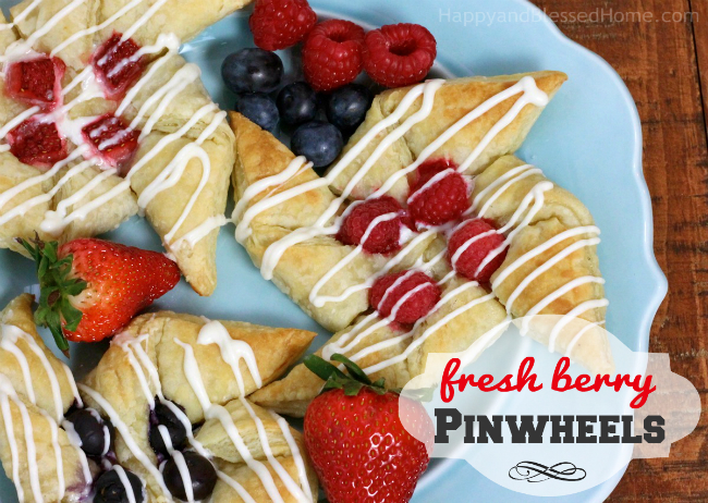 Fresh berry pinwheels made with cream cheese and puff pastry recipe by HappyandBlessedHome.com