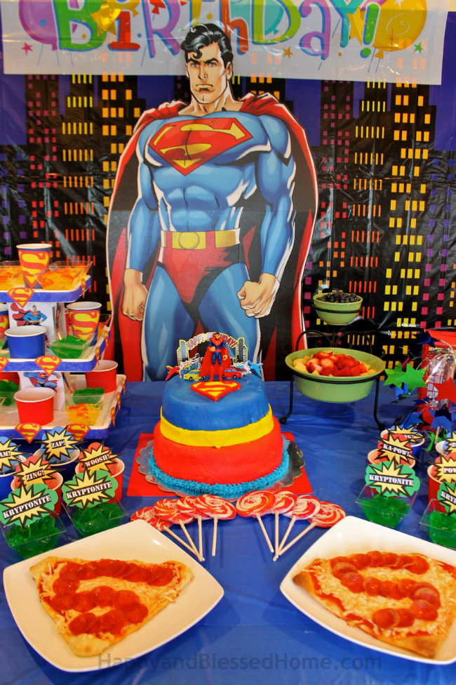 Fun Birthday Party Food - Everyone loved the Superman Pizza at our Superman Birthday Party by HappyandBlessedHome