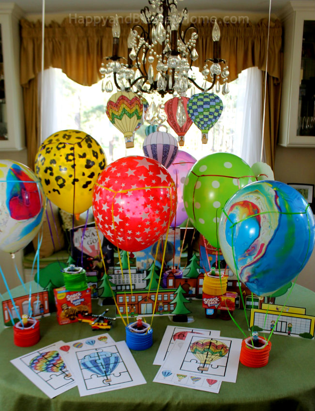 Fun for kids - host a hot air balloon party with snacks and FREE printable activity kit from HappyandBlessedHome