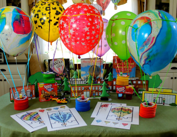 Fun idea for kids - host a Hot Air Balloon race complete with books, snacks, and FREE Hot Air Balloon Activity pack from HappyandBlessedHome