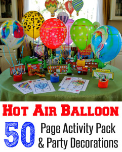 Fun Kid Party Idea Hot Air Balloon 50 Page Activity Pack And Party