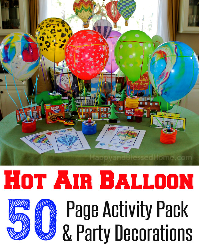 Fun kid party idea! Hot Air Balloon 50 Page Activity Pack and Party Decorations from HappyandBlessedHome.com