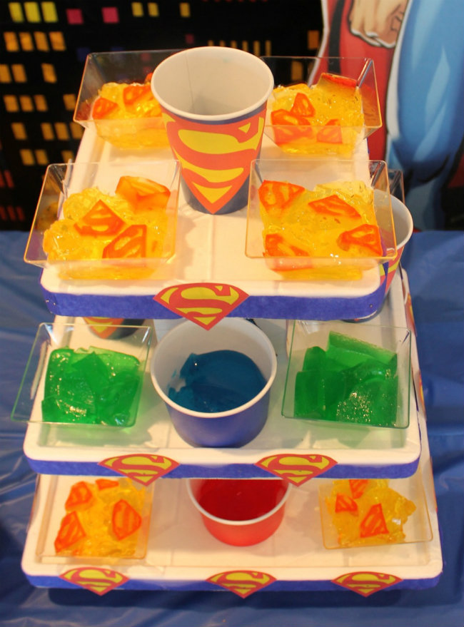 Gelatin Superman Birthday Party Jello Tower