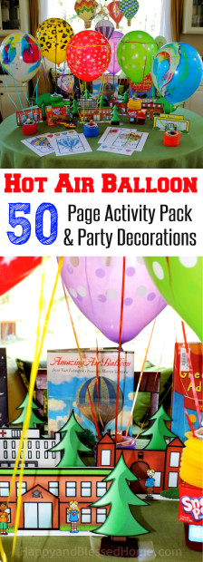 Great fun for kids! FREE Hot Air Balloon 50 Page Activity Pack and Party Decorations from HappyandBlessedHome.com