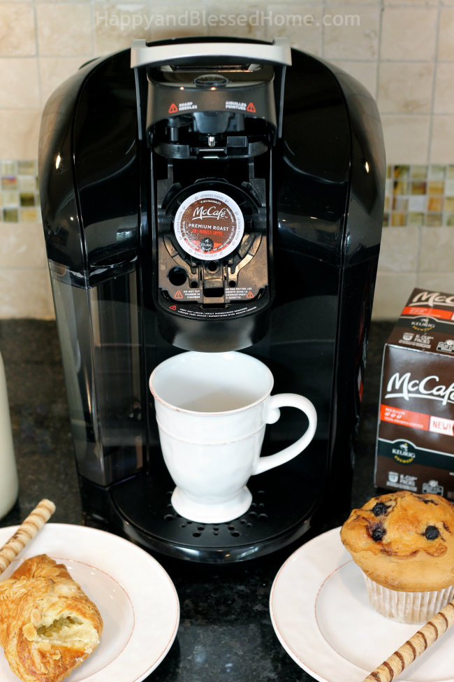 How to make Coffee Misto like a barista, in a Keurig with McCafe Premium Roast Coffee and frothed, steamed milk recipe by HappyandBlessedHome.com