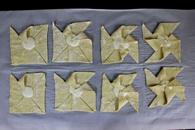 In sequential order pin the legs of the pinwheel puff pastries