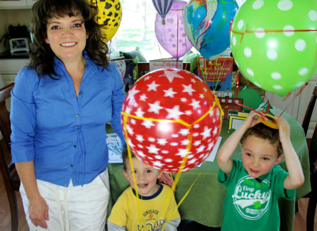 Me and the boys enjoying our hot air balloons craft from HappyandBlessedHome