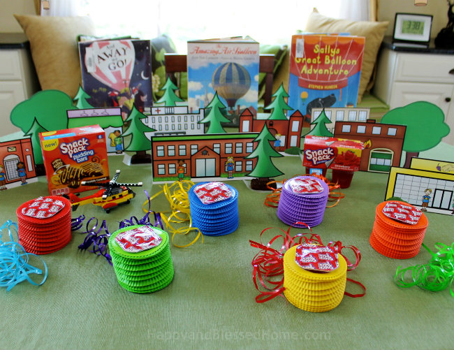 Prior to hot air balloon assembly here is what our little town looked like - craft tutorial by HappyandBlessedHome