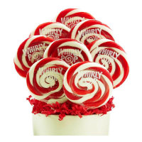 Red and White Superman Lollipops