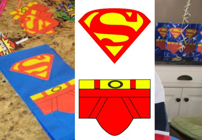 S and Pants for Superman Favor Bags by HappyandBlessedHome.com