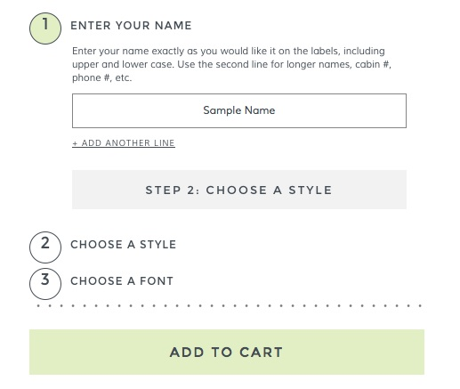 Step 1 Enter Your Name on Mabel's Labels
