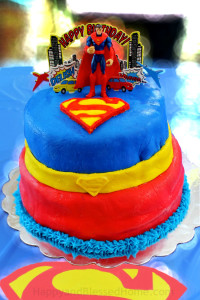 Superman Birthday Cake for five-year-old birthday party with Chocolate Cake and Marshmallow Fondant from HappyandBlessedHome.com