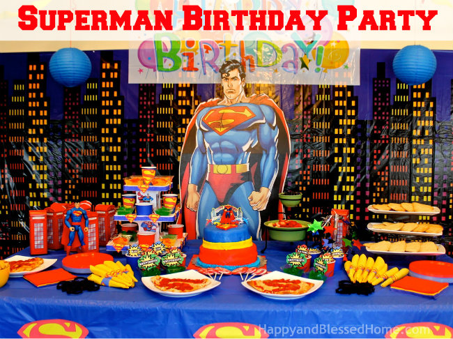 Superman Birthday Party Decorations Table Setting Superhero Fun HappyandBlessedHome