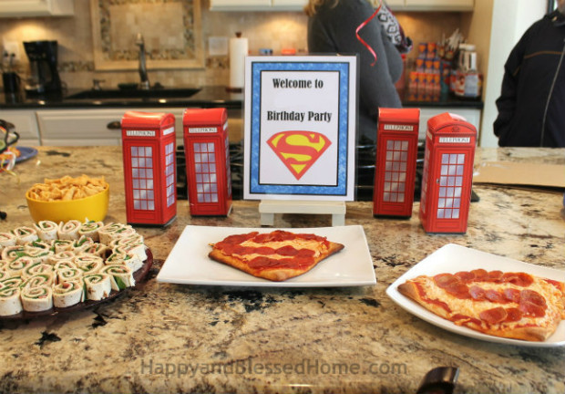 Superman Pizza Ham and cheese roll-ups and bugles for easy Superman party food from HappyandBlessedHome