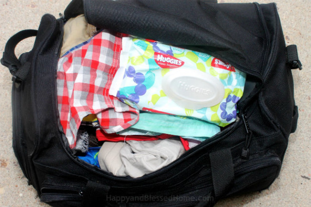 We like to keep Huggies Wipes in our gym bag for emergencies
