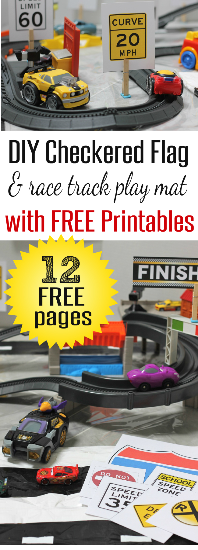 12 Free Pages of Race Car Printables and Road Signs to go with DIY Race Car and Checkered Flag Play Mat by HappyandBlessedHome.com