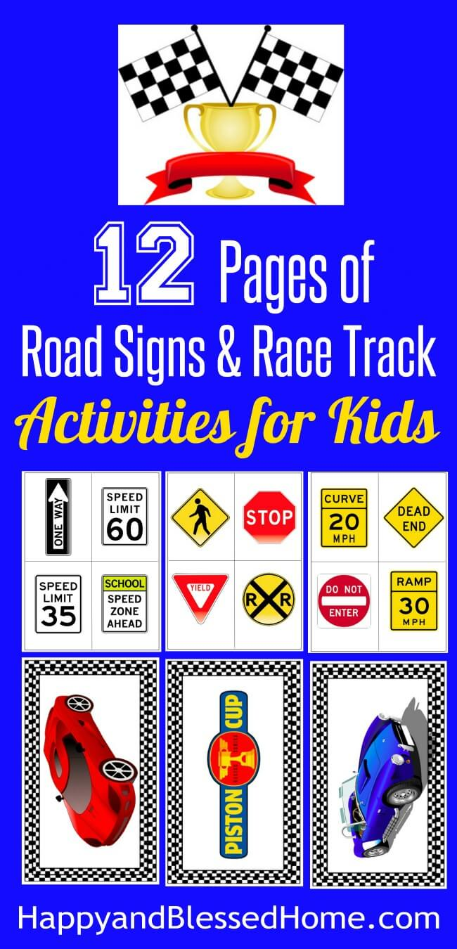 12 Pages of Road Signs and Rack Track Activities for Kids - Free Printables for race car play for boys and girls from HappyandBlessedHome