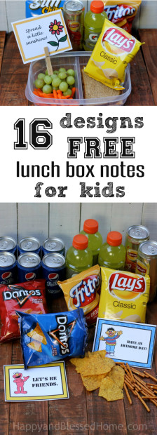 16 Designs FREE Lunch Box Notes for Kids with snacking tips from HappyandBlessedHome.com
