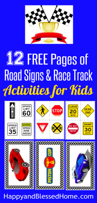 200 - 12 Free Pages of Road Signs and Rack Track Activities for Kids - Free Printables for race car play for boys and girls from HappyandBlessedHome