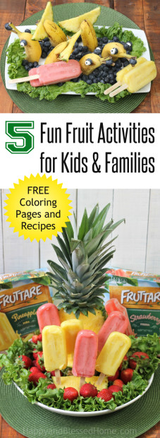 5 Fun Fruit Activities for Kids and Families with easy recipes free coloring and craft ideas from HappyandBlessedHome.com