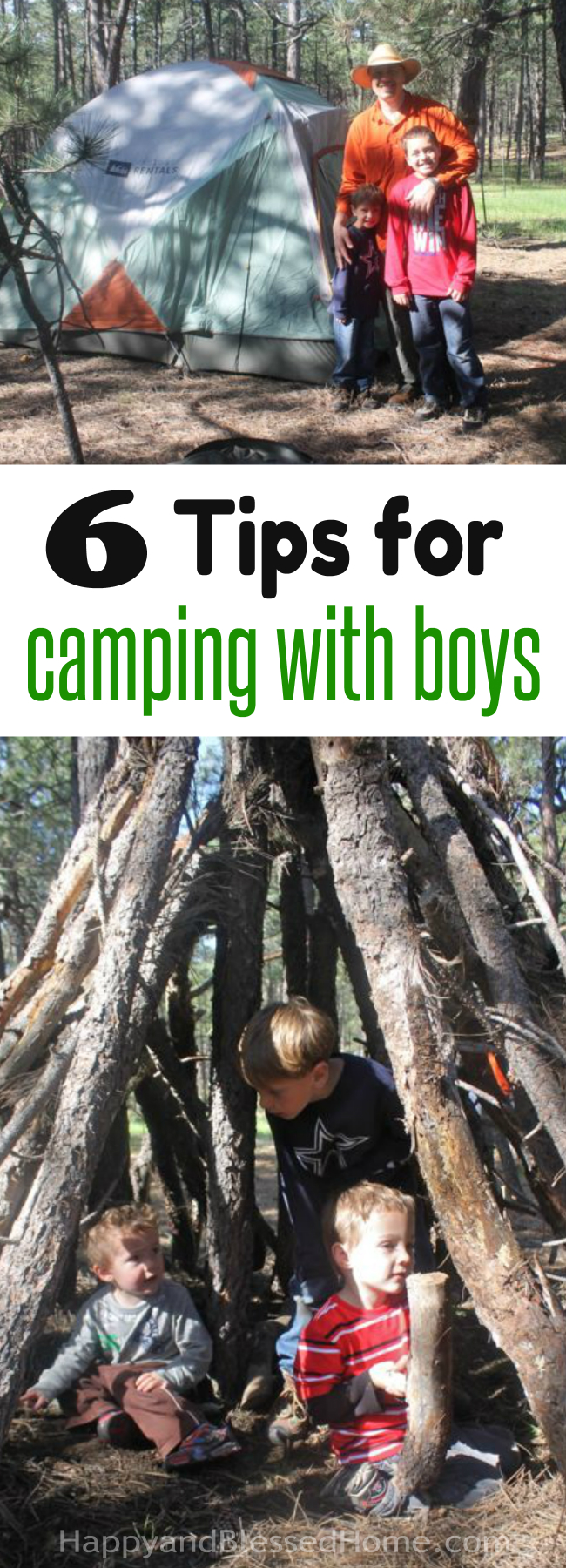 6 Tips for Camping with Boys with activities and gear ideas from HappyandBlessedHome.com