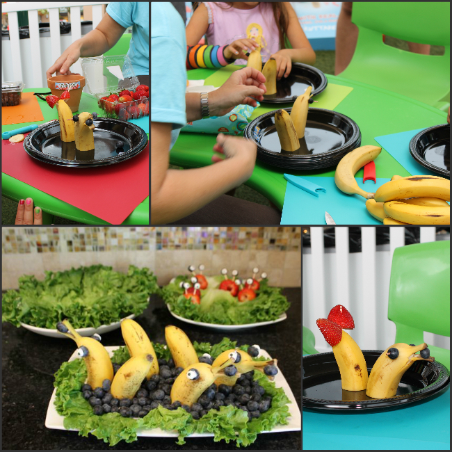 Create fun fruit dolphins from bananas and blueberries photo copyright 2015 HappyandBlessedHome.com