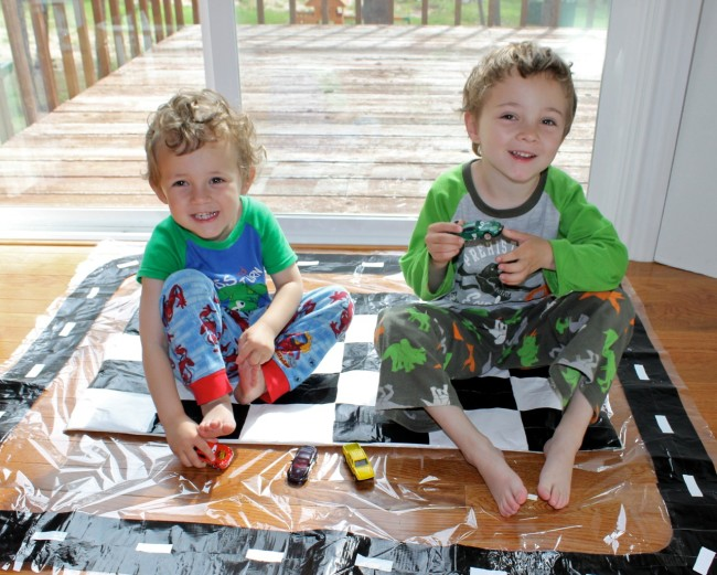 DIY Checkered Flag Play Mat for Race Car Fun from HappyandBlessedHome