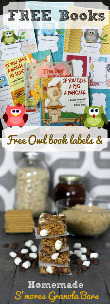 FREE Books Free Owl book labels and Homemade Smores Granola Bars recipe from HappyandBlessedHome.com