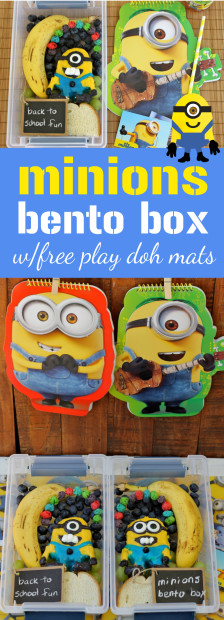 FREE Minions Play Doh Mat Printables and Minons Bento Box Tutorial fun lunch for kids from HappyandBlessedHome.com