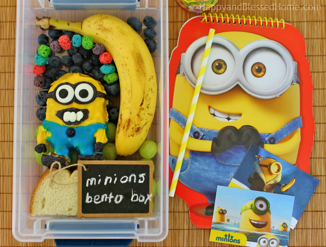 FREE Minions Play Doh Mat Printables and Minons Bento Box Tutorial with red spiral notebook - photo copyright 2015 HappyandBlessedHome.com
