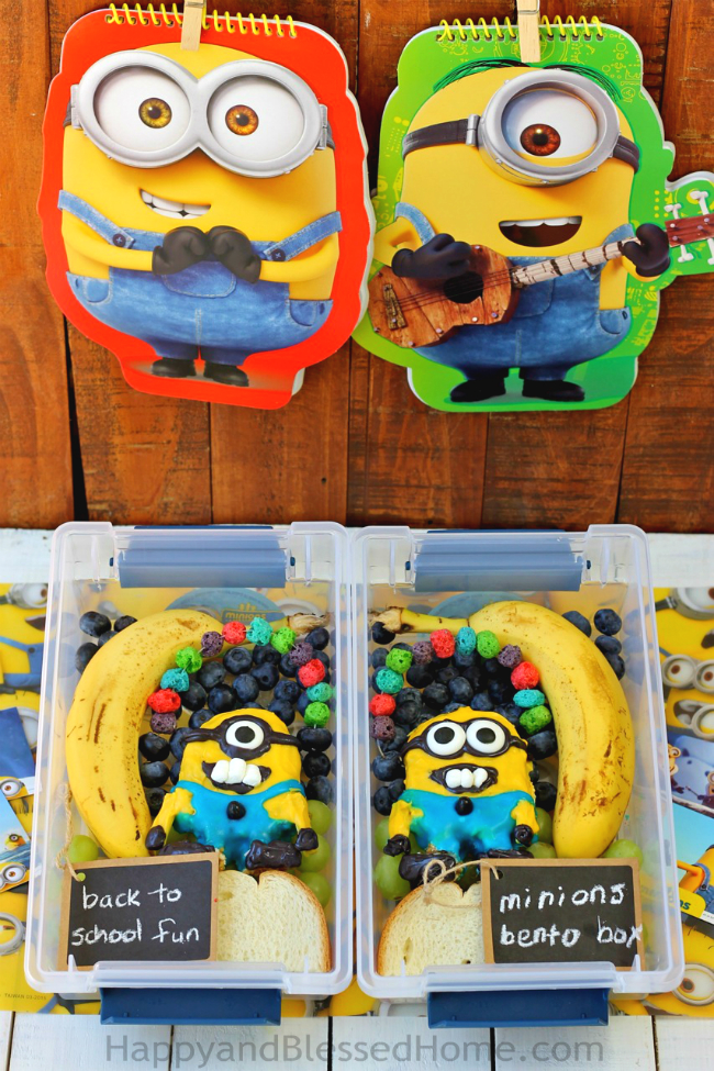 Fun lunch for kids - FREE Minions Play Doh Mat Printables and Minons Bento Box Tutorial from HappyandBlessedHome.com