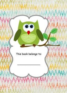 Green Owl on multicolor scrap paper