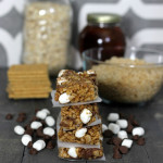 Homemade no bake Smores Granola Bars with Rice Krispies cereal - the perfect anytime snack recipe from HappyandBlessedHome.com