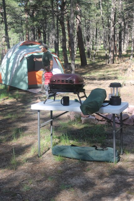 Great tools for camping include a tent grill and lantern