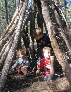 A tepee is an easy fort to build with boys - it make for hours of fun play