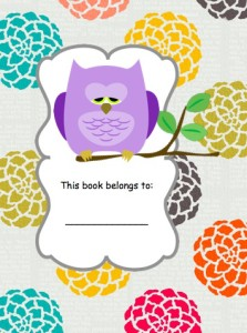 FREE Owl Book cover and book labels from HappyandBlessedHome.com