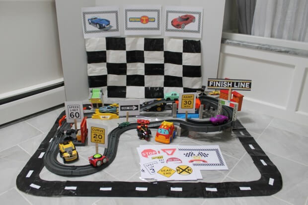Race Track and DIY Checkered Flag Play Mat for Race Car Fun from HappyandBlessedHome