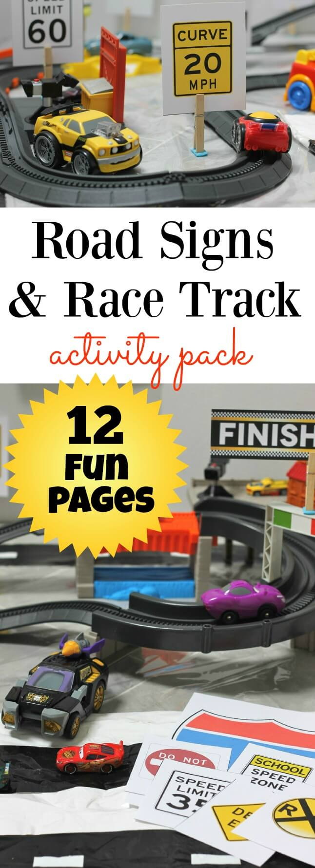 Road Signs and Race Track 12 Page Activity Pack with a fun craft for kids