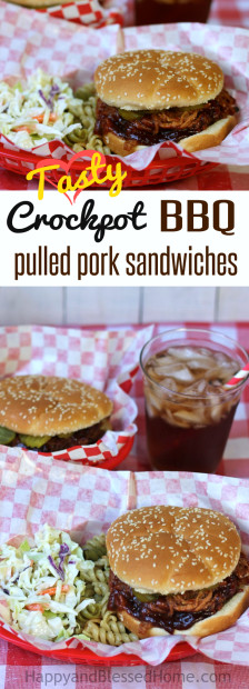 Tasty Crockpot BBQ pulled pork Sandwiches - an easy recipe from HappyandBlessedHome.com